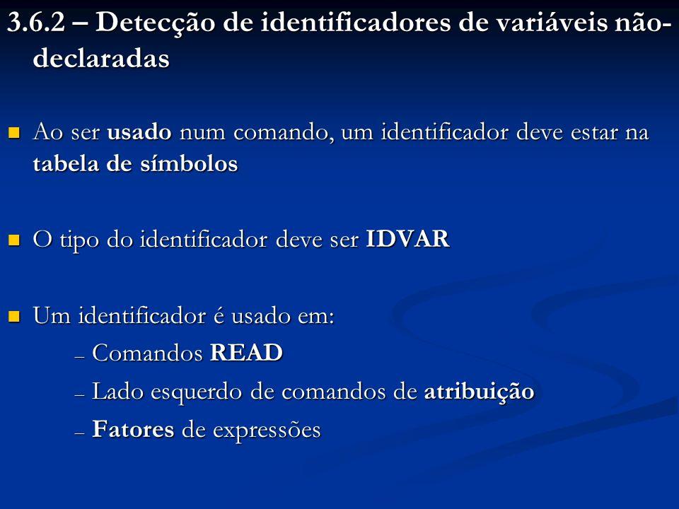 3.6.2 – Detecção de identificadores de variáveis não- declaradas Ao ser usado num comando, um identificador deve estar na tabela de símbolos Ao ser us