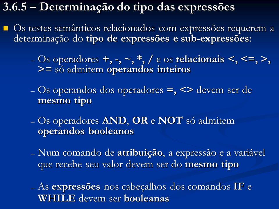 3.6.5 – Determinação do tipo das expressões Os testes semânticos relacionados com expressões requerem a determinação do tipo de expressões e sub-expre