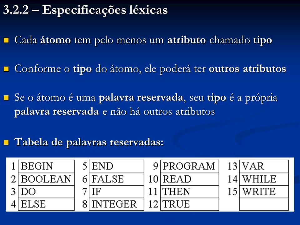 3.2.2 – Especificações léxicas Cada átomo tem pelo menos um atributo chamado tipo Cada átomo tem pelo menos um atributo chamado tipo Conforme o tipo d