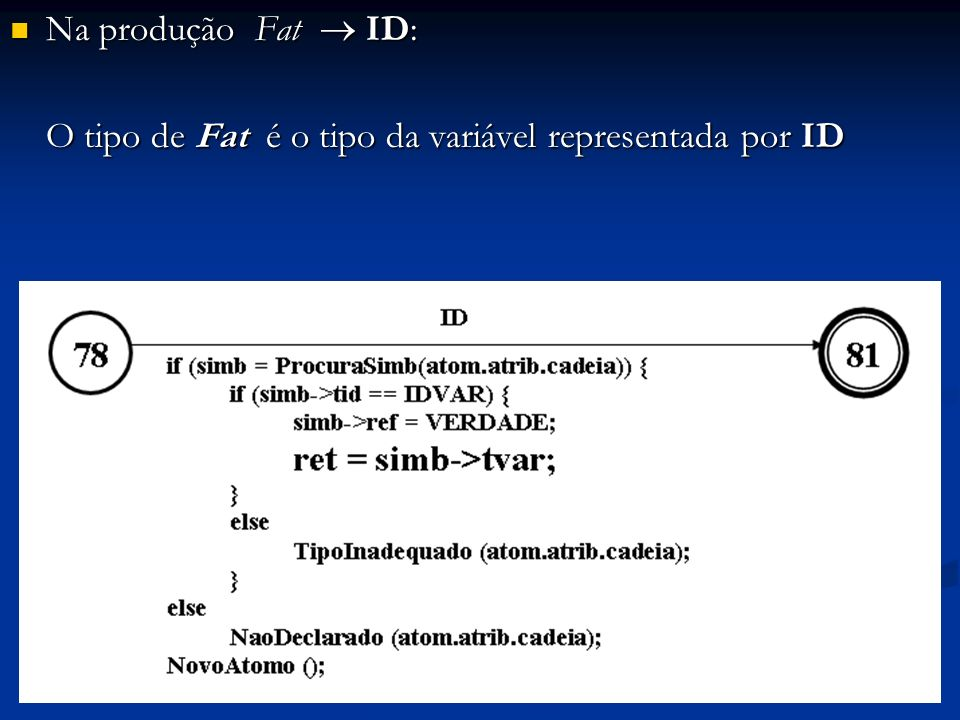 Na produção Fat ID: Na produção Fat ID: O tipo de Fat é o tipo da variável representada por ID