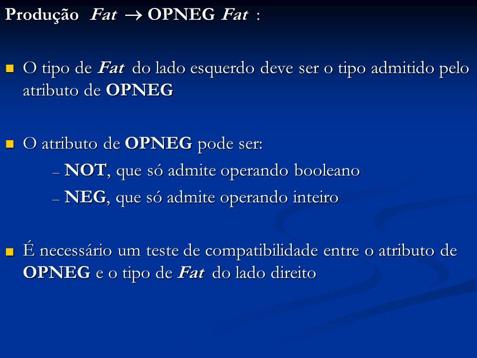 Produção Fat OPNEG Fat : O tipo de Fat do lado esquerdo deve ser o tipo admitido pelo atributo de OPNEG O tipo de Fat do lado esquerdo deve ser o tipo