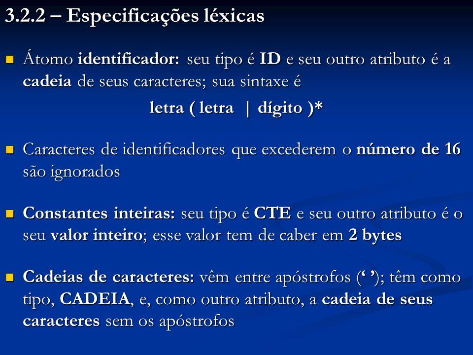 3.2.2 – Especificações léxicas Átomo identificador: seu tipo é ID e seu outro atributo é a cadeia de seus caracteres; sua sintaxe é Átomo identificado