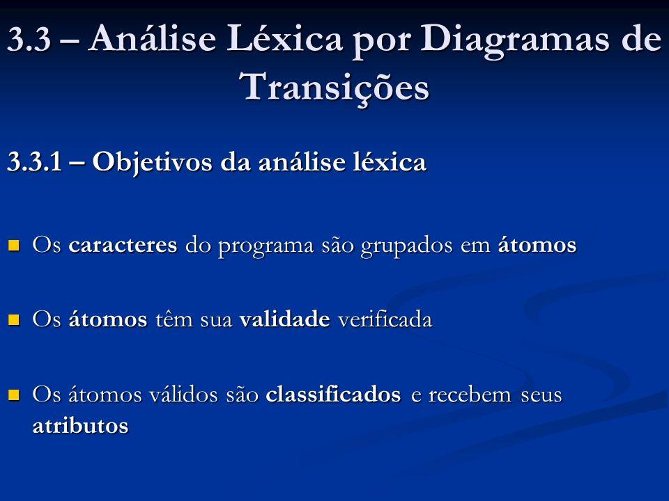 3.3 – Análise Léxica por Diagramas de Transições 3.3.1 – Objetivos da análise léxica Os caracteres do programa são grupados em átomos Os caracteres do