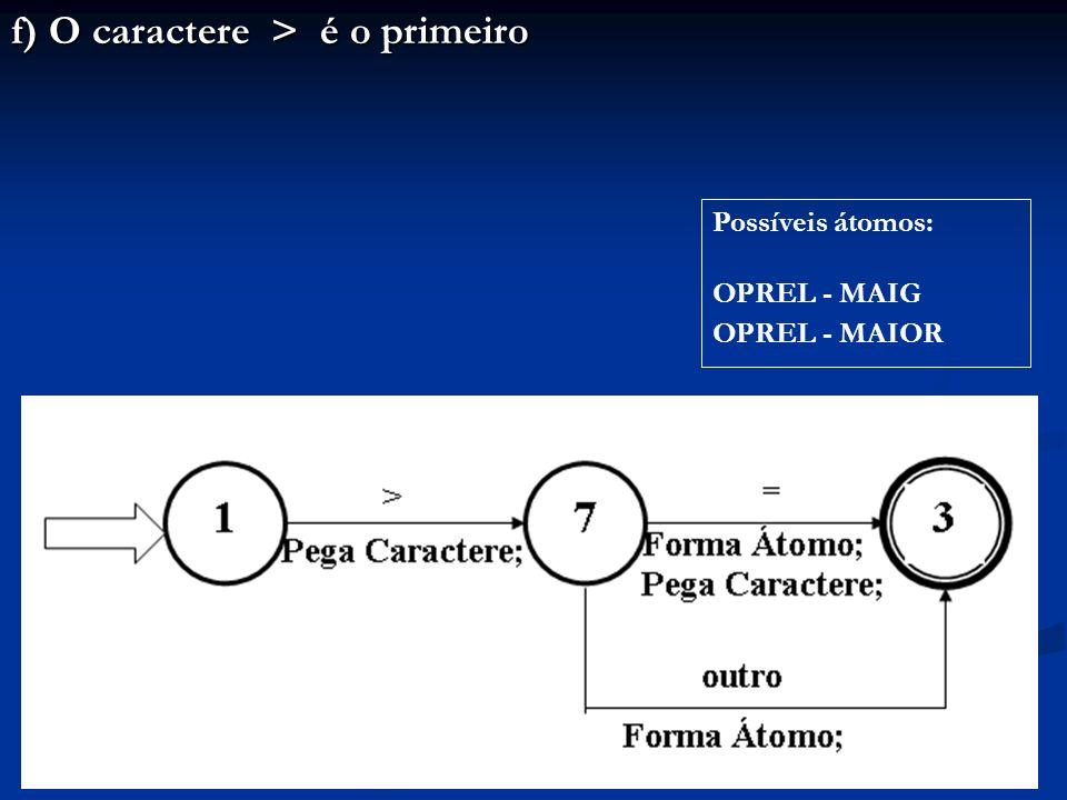 f) O caractere > é o primeiro Possíveis átomos: OPREL - MAIG OPREL - MAIOR