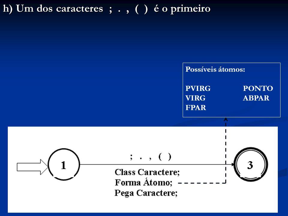 h) Um dos caracteres ;., ( ) é o primeiro Possíveis átomos: PVIRG PONTO VIRG ABPAR FPAR