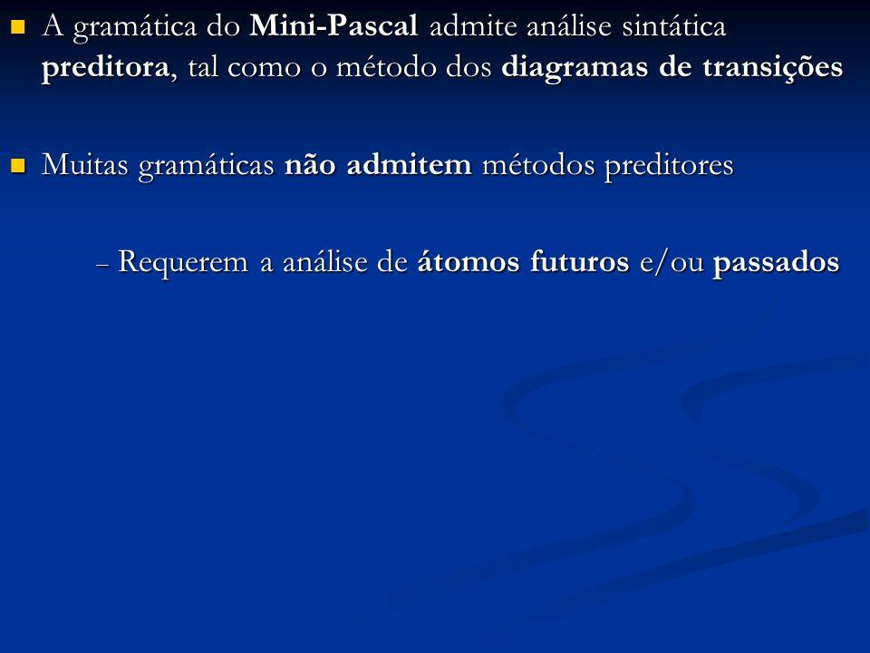 A gramática do Mini-Pascal admite análise sintática preditora, tal como o método dos diagramas de transições A gramática do Mini-Pascal admite análise