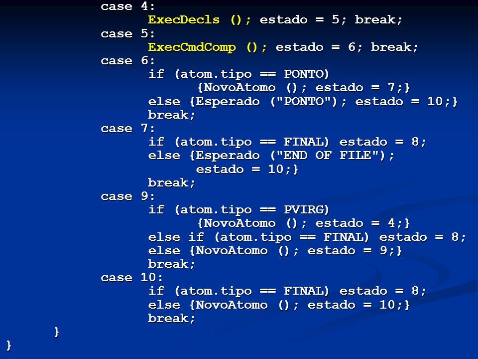 case 4: ExecDecls (); estado = 5; break; case 5: ExecCmdComp (); estado = 6; break; case 6: if (atom.tipo == PONTO) {NovoAtomo (); estado = 7;} else {