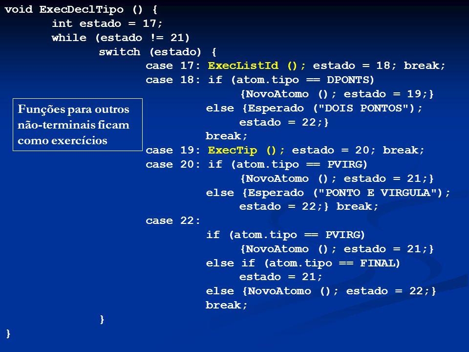 void ExecDeclTipo () { int estado = 17; while (estado != 21) switch (estado) { case 17: ExecListId (); estado = 18; break; case 18: if (atom.tipo == D