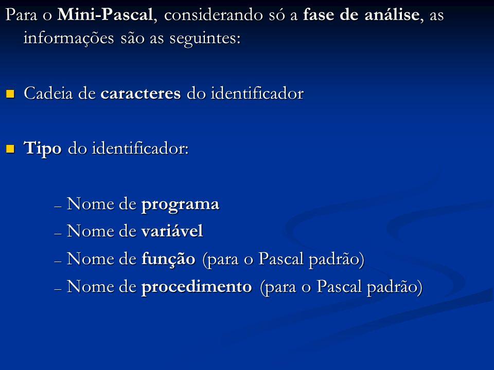 Para o Mini-Pascal, considerando só a fase de análise, as informações são as seguintes: Cadeia de caracteres do identificador Cadeia de caracteres do