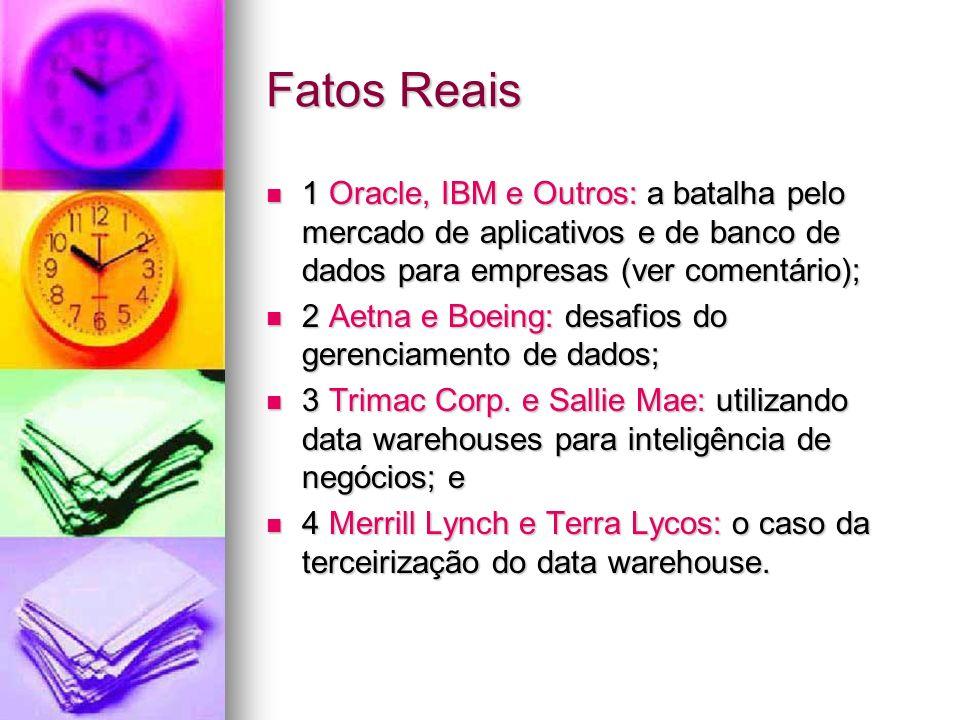 Fatos Reais 1 Oracle, IBM e Outros: a batalha pelo mercado de aplicativos e de banco de dados para empresas (ver comentário); 1 Oracle, IBM e Outros: a batalha pelo mercado de aplicativos e de banco de dados para empresas (ver comentário); 2 Aetna e Boeing: desafios do gerenciamento de dados; 2 Aetna e Boeing: desafios do gerenciamento de dados; 3 Trimac Corp.