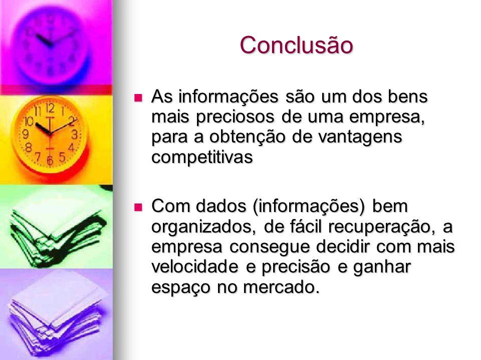 Conclusão As informações são um dos bens mais preciosos de uma empresa, para a obtenção de vantagens competitivas As informações são um dos bens mais