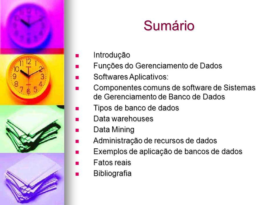 Sumário Introdução Introdução Funções do Gerenciamento de Dados Funções do Gerenciamento de Dados Softwares Aplicativos: Softwares Aplicativos: Componentes comuns de software de Sistemas de Gerenciamento de Banco de Dados Componentes comuns de software de Sistemas de Gerenciamento de Banco de Dados Tipos de banco de dados Tipos de banco de dados Data warehouses Data warehouses Data Mining Data Mining Administração de recursos de dados Administração de recursos de dados Exemplos de aplicação de bancos de dados Exemplos de aplicação de bancos de dados Fatos reais Fatos reais Bibliografia Bibliografia