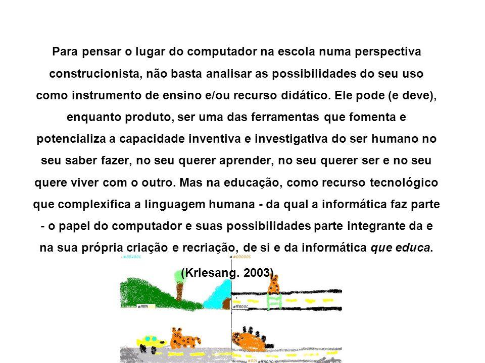 Para pensar o lugar do computador na escola numa perspectiva construcionista, não basta analisar as possibilidades do seu uso como instrumento de ensi
