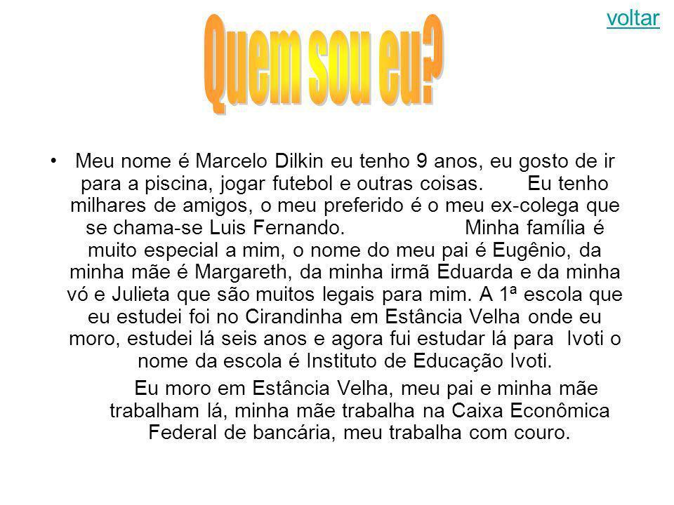 Meu nome é Marcelo Dilkin eu tenho 9 anos, eu gosto de ir para a piscina, jogar futebol e outras coisas.Eu tenho milhares de amigos, o meu preferido é