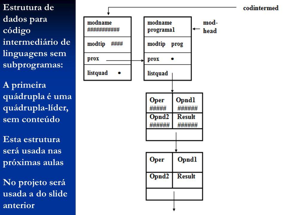 Estrutura de dados para código intermediário de linguagens sem subprogramas: A primeira quádrupla é uma quádrupla-líder, sem conteúdo Esta estrutura s