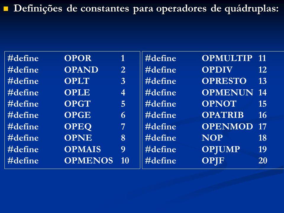 Definições de constantes para operadores de quádruplas: Definições de constantes para operadores de quádruplas: #defineOPOR1 #defineOPAND2 #define OPL