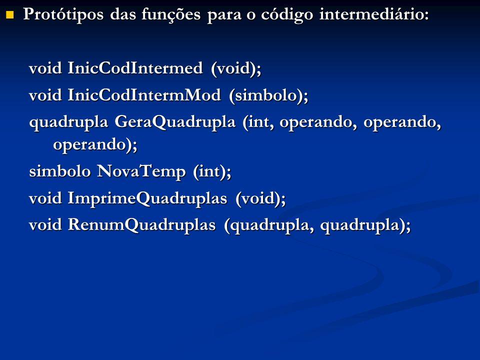 Protótipos das funções para o código intermediário: Protótipos das funções para o código intermediário: void InicCodIntermed (void); void InicCodInter