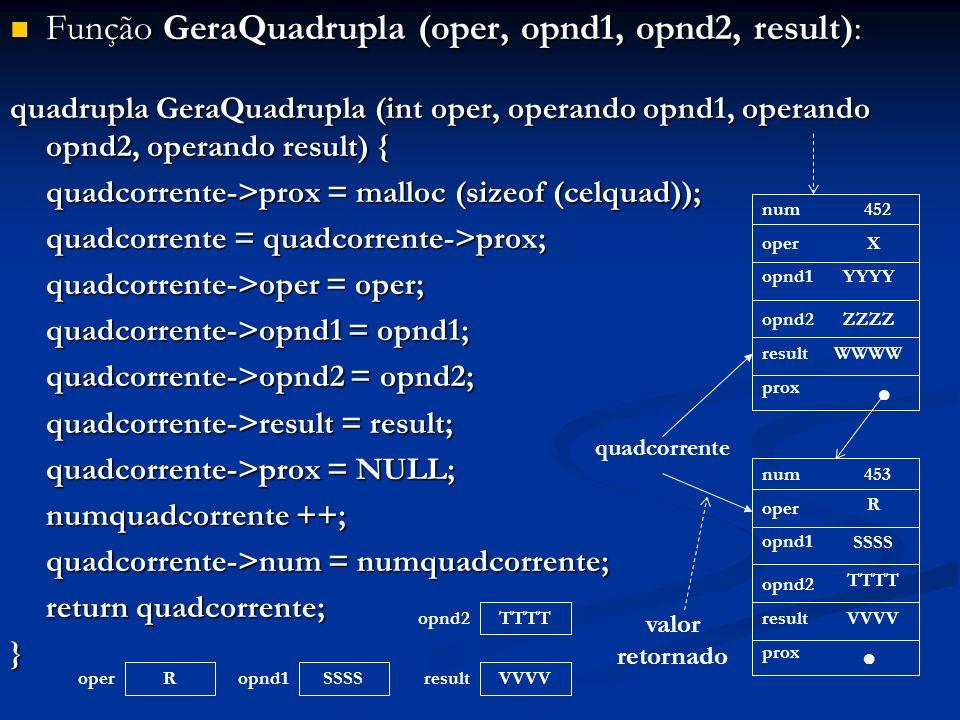 Função GeraQuadrupla (oper, opnd1, opnd2, result): Função GeraQuadrupla (oper, opnd1, opnd2, result): quadrupla GeraQuadrupla (int oper, operando opnd