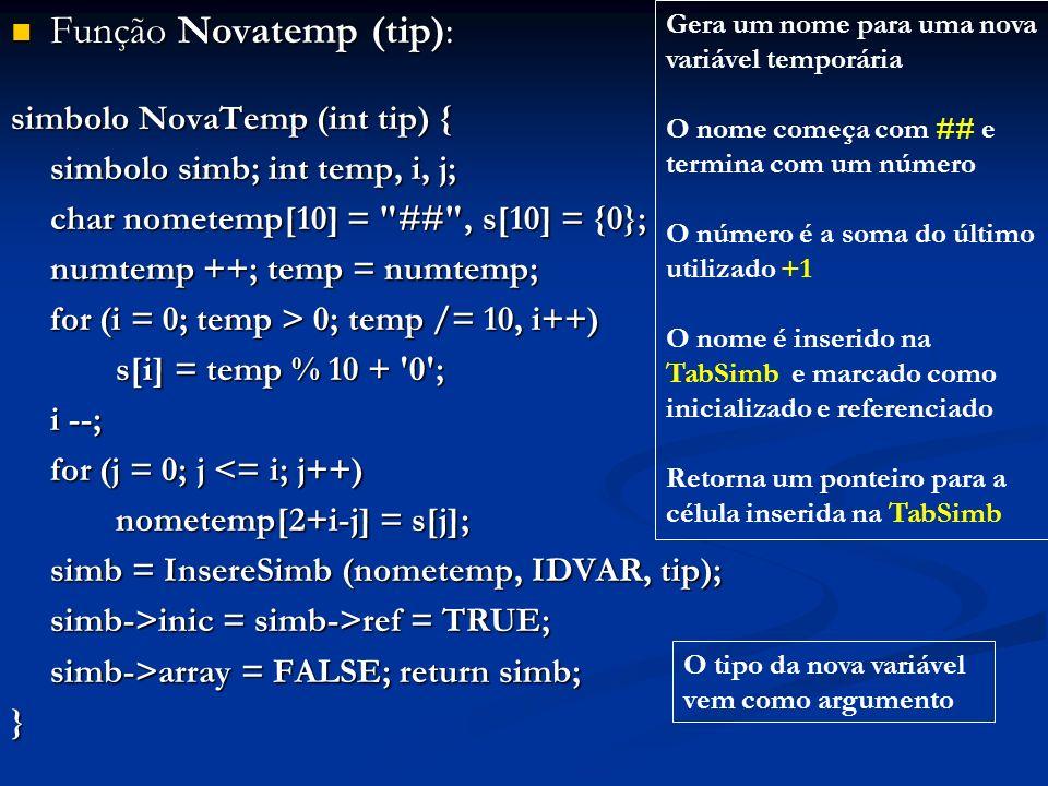 Função Novatemp (tip): Função Novatemp (tip): simbolo NovaTemp (int tip) { simbolo simb; int temp, i, j; char nometemp[10] =