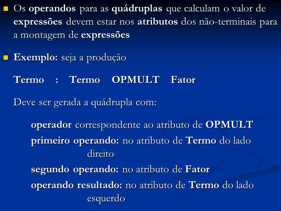 Os operandos para as quádruplas que calculam o valor de expressões devem estar nos atributos dos não-terminais para a montagem de expressões Os operan