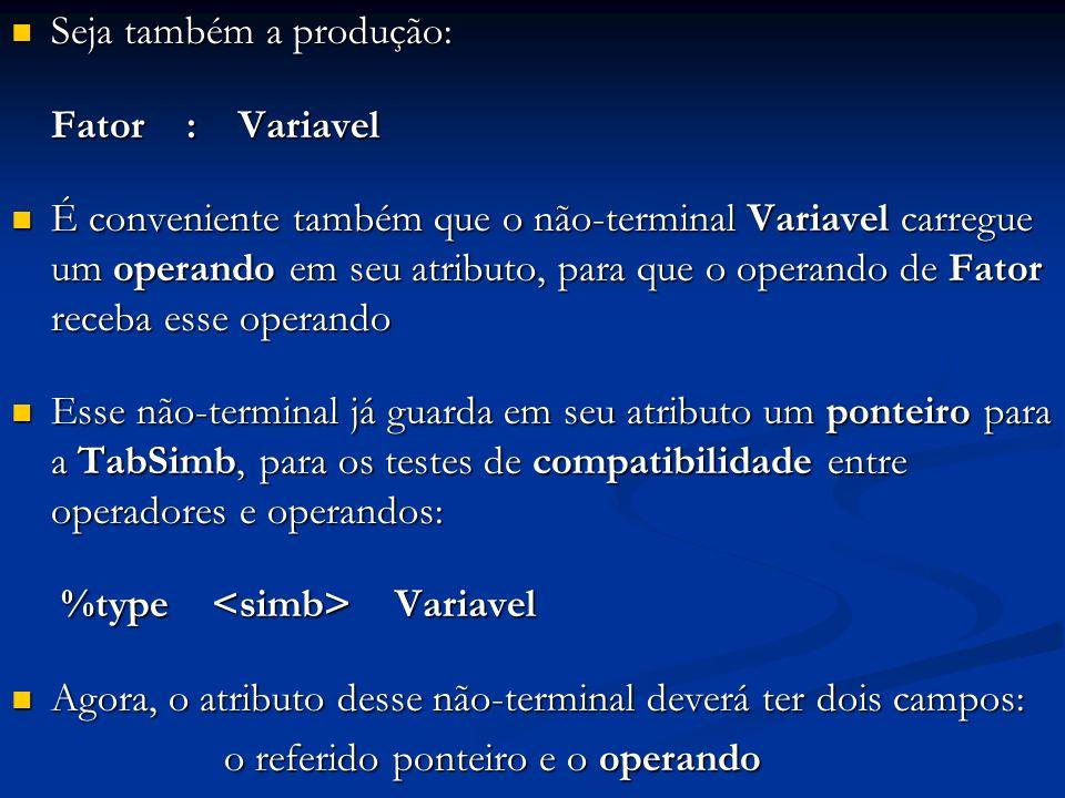 Seja também a produção: Seja também a produção: Fator : Variavel É conveniente também que o não-terminal Variavel carregue um operando em seu atributo