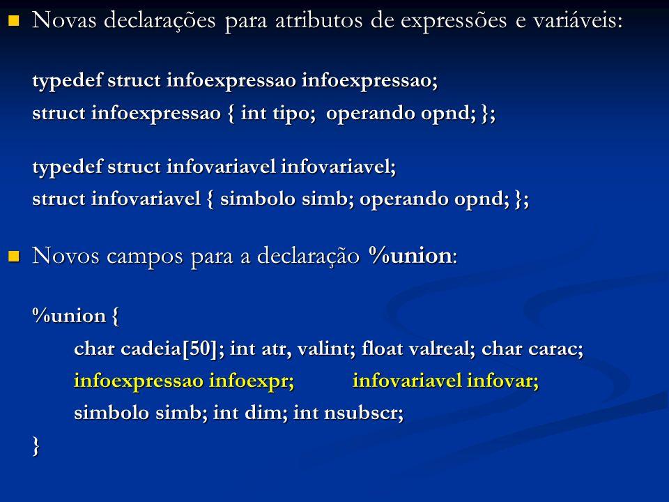 Novas declarações para atributos de expressões e variáveis: Novas declarações para atributos de expressões e variáveis: typedef struct infoexpressao i