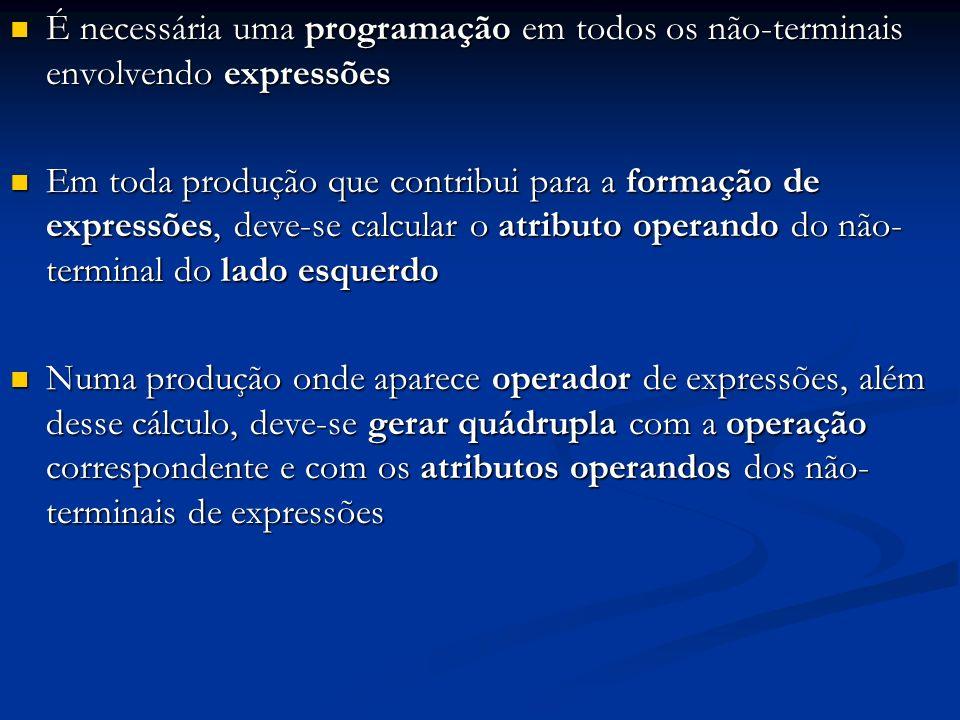 É necessária uma programação em todos os não-terminais envolvendo expressões É necessária uma programação em todos os não-terminais envolvendo express