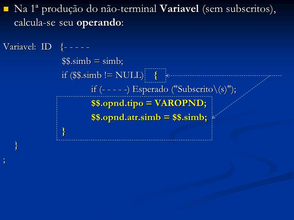 Na 1ª produção do não-terminal Variavel (sem subscritos), calcula-se seu operando: Na 1ª produção do não-terminal Variavel (sem subscritos), calcula-s