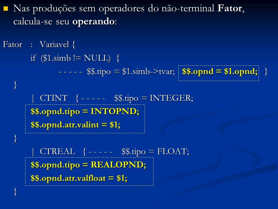 Nas produções sem operadores do não-terminal Fator, calcula-se seu operando: Nas produções sem operadores do não-terminal Fator, calcula-se seu operan