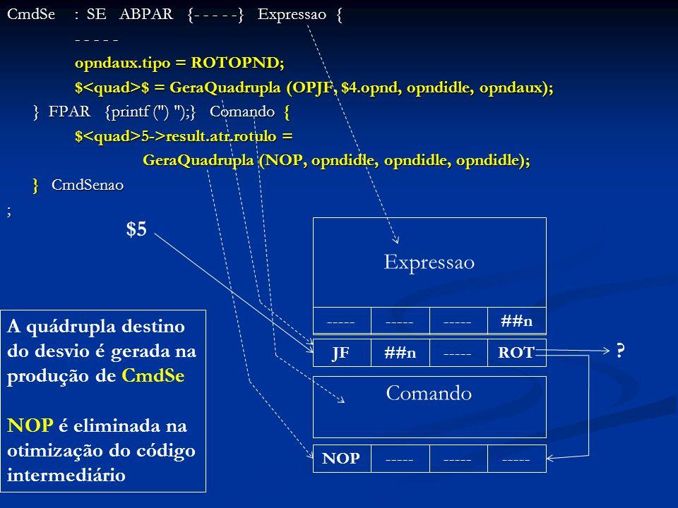 CmdSe: SE ABPAR {- - - - -} Expressao { - - - - - - - - - - opndaux.tipo = ROTOPND; $ $ = GeraQuadrupla (OPJF, $4.opnd, opndidle, opndaux); } FPAR {pr