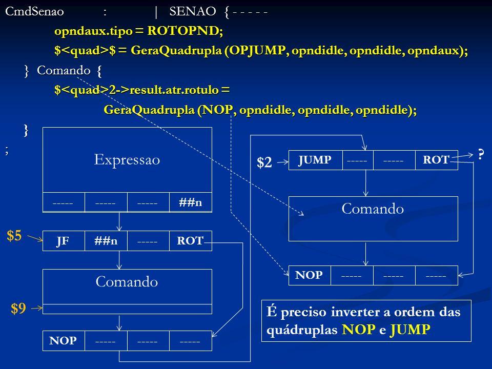 CmdSenao:| SENAO { - - - - - opndaux.tipo = ROTOPND; $ $ = GeraQuadrupla (OPJUMP, opndidle, opndidle, opndaux); } Comando { $ 2->result.atr.rotulo = G