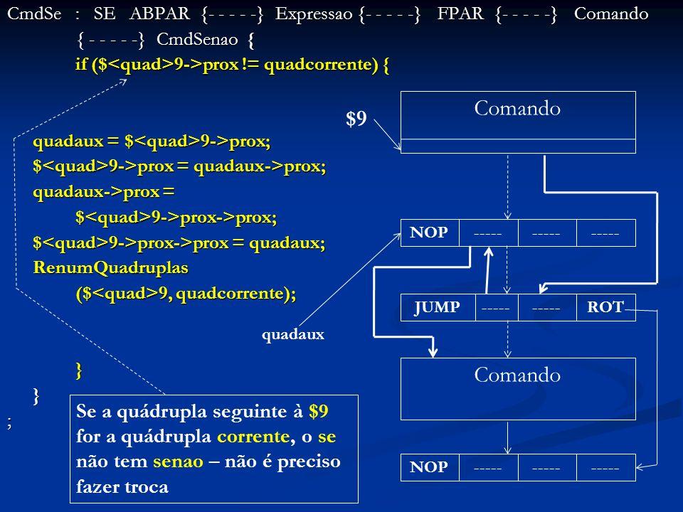 CmdSe: SE ABPAR {- - - - -} Expressao {- - - - -} FPAR {- - - - -} Comando { - - - - -} CmdSenao { if ($ 9->prox != quadcorrente) { quadaux = $ 9->pro