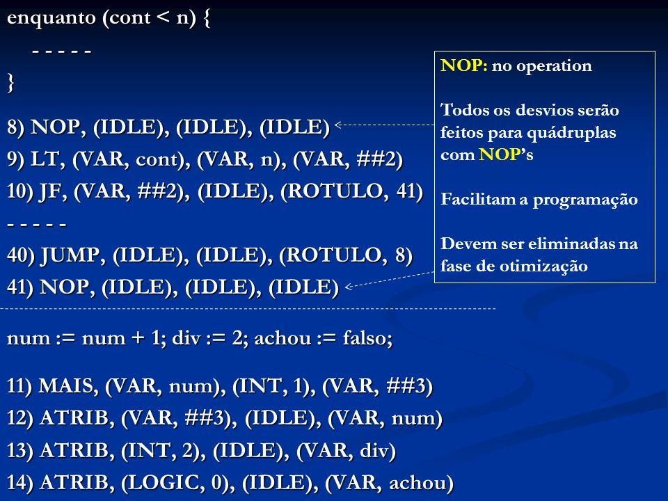 enquanto (cont < n) { - - - - - } 8) NOP, (IDLE), (IDLE), (IDLE) 9) LT, (VAR, cont), (VAR, n), (VAR, ##2) 10) JF, (VAR, ##2), (IDLE), (ROTULO, 41) - -