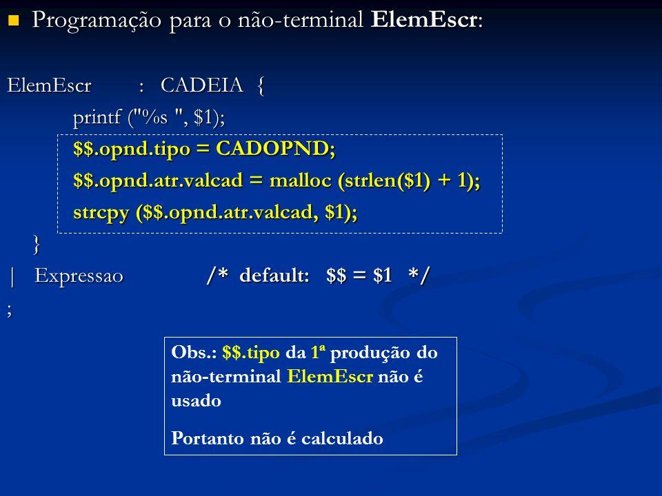 Programação para o não-terminal ElemEscr: Programação para o não-terminal ElemEscr: ElemEscr: CADEIA { printf (