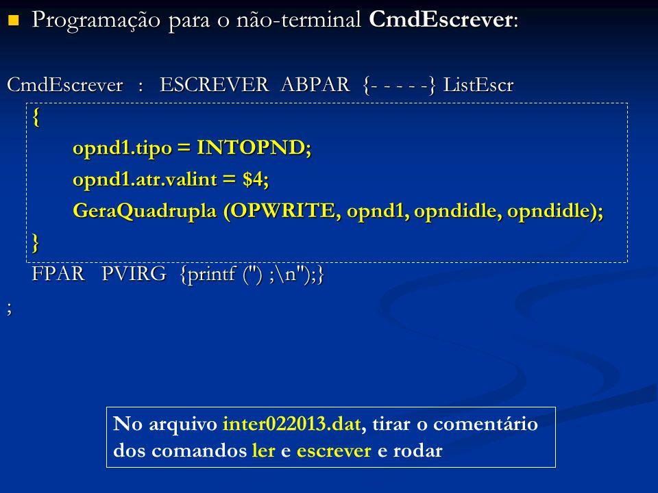 Programação para o não-terminal CmdEscrever: Programação para o não-terminal CmdEscrever: CmdEscrever: ESCREVER ABPAR {- - - - -} ListEscr { opnd1.tip
