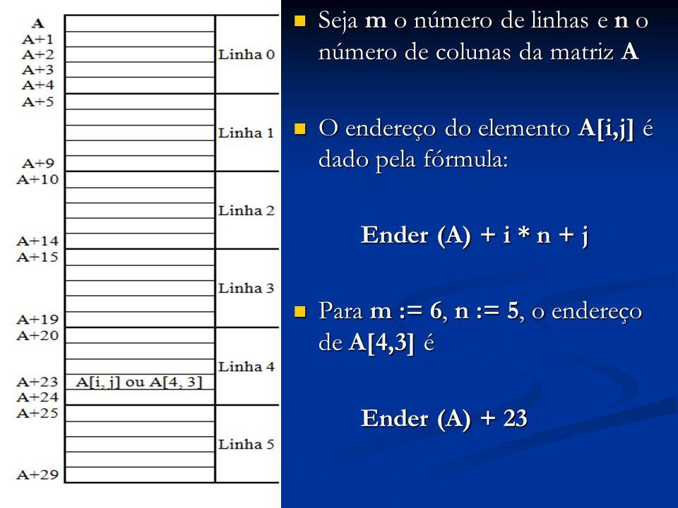 Seja m o número de linhas e n o número de colunas da matriz A Seja m o número de linhas e n o número de colunas da matriz A O endereço do elemento A[i