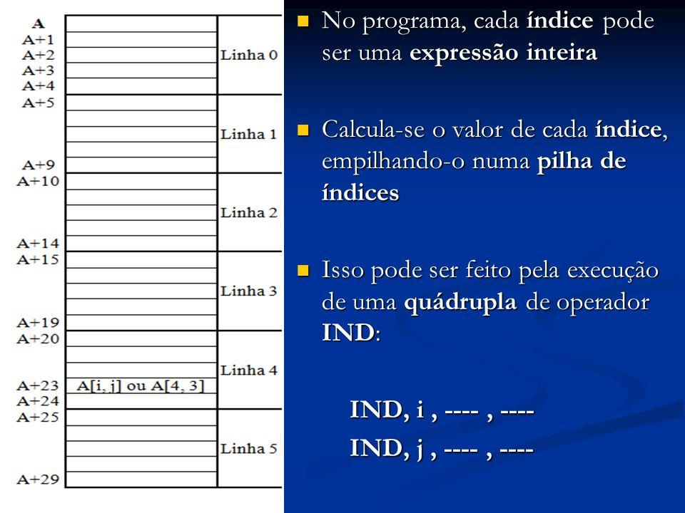 No programa, cada índice pode ser uma expressão inteira No programa, cada índice pode ser uma expressão inteira Calcula-se o valor de cada índice, emp