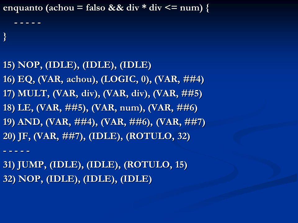enquanto (achou = falso && div * div <= num) { - - - - - } 15) NOP, (IDLE), (IDLE), (IDLE) 16) EQ, (VAR, achou), (LOGIC, 0), (VAR, ##4) 17) MULT, (VAR