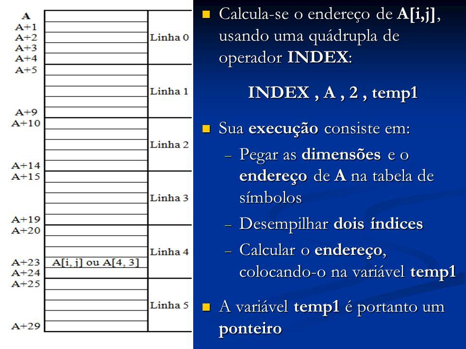 Calcula-se o endereço de A[i,j], usando uma quádrupla de operador INDEX: Calcula-se o endereço de A[i,j], usando uma quádrupla de operador INDEX: INDE