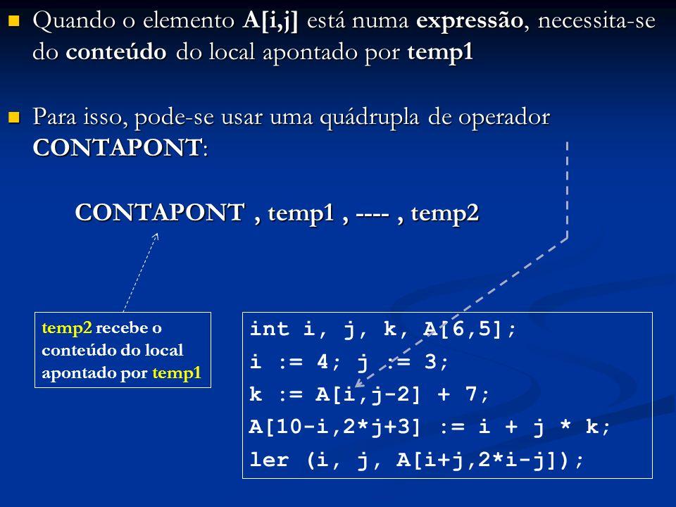 Quando o elemento A[i,j] está numa expressão, necessita-se do conteúdo do local apontado por temp1 Quando o elemento A[i,j] está numa expressão, neces