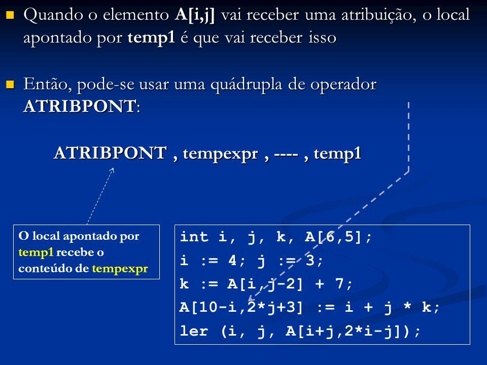 Quando o elemento A[i,j] vai receber uma atribuição, o local apontado por temp1 é que vai receber isso Quando o elemento A[i,j] vai receber uma atribu