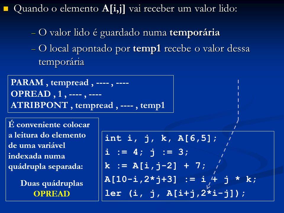 Quando o elemento A[i,j] vai receber um valor lido: Quando o elemento A[i,j] vai receber um valor lido: O valor lido é guardado numa temporária O valo