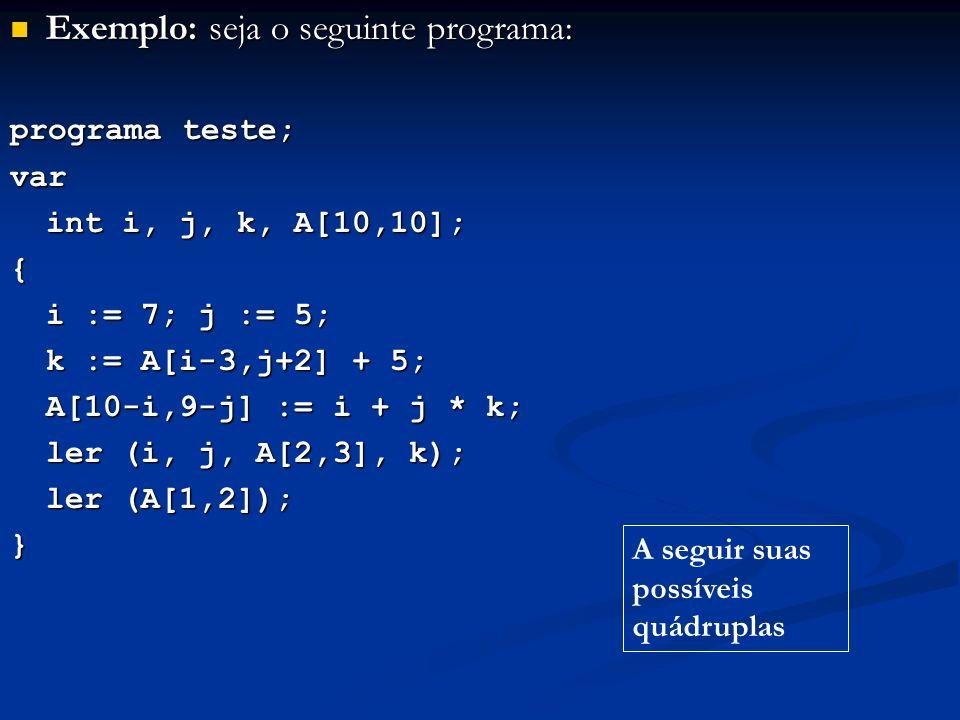 Exemplo: seja o seguinte programa: Exemplo: seja o seguinte programa: programa teste; var int i, j, k, A[10,10]; { i := 7; j := 5; k := A[i-3,j+2] + 5