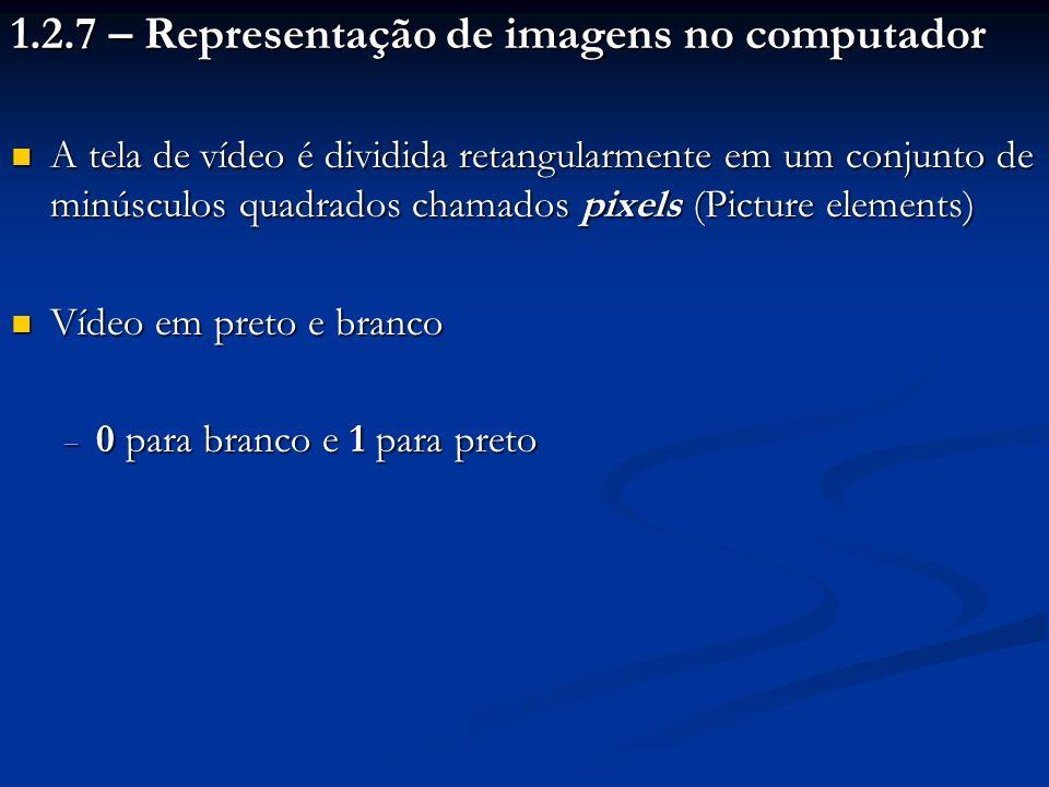 Vídeo colorido - Padrão RBG (Red Blue Green) Vídeo colorido - Padrão RBG (Red Blue Green) Diferentes cores são obtidas a partir de intensidades diferentes dessas três cores primárias Diferentes cores são obtidas a partir de intensidades diferentes dessas três cores primárias Um pixel é armazenado em 3 bytes (1 byte por cor básica) Um pixel é armazenado em 3 bytes (1 byte por cor básica) Exemplo: imagem com 1024 linhas de 1024 pixels ocupará 3 Megabytes Exemplo: imagem com 1024 linhas de 1024 pixels ocupará 3 Megabytes Existem técnicas de compressão de dados para reduzir o gasto excessivo de memória Existem técnicas de compressão de dados para reduzir o gasto excessivo de memória