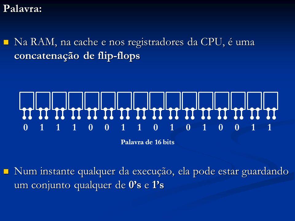 Byte: conjunto de 8 bits Importância: cada caractere que compõe um texto é armazenado em um byte Importância: cada caractere que compõe um texto é armazenado em um byte Caracteres: letras, dígitos decimais, operadores aritméticos, pontuação, etc.