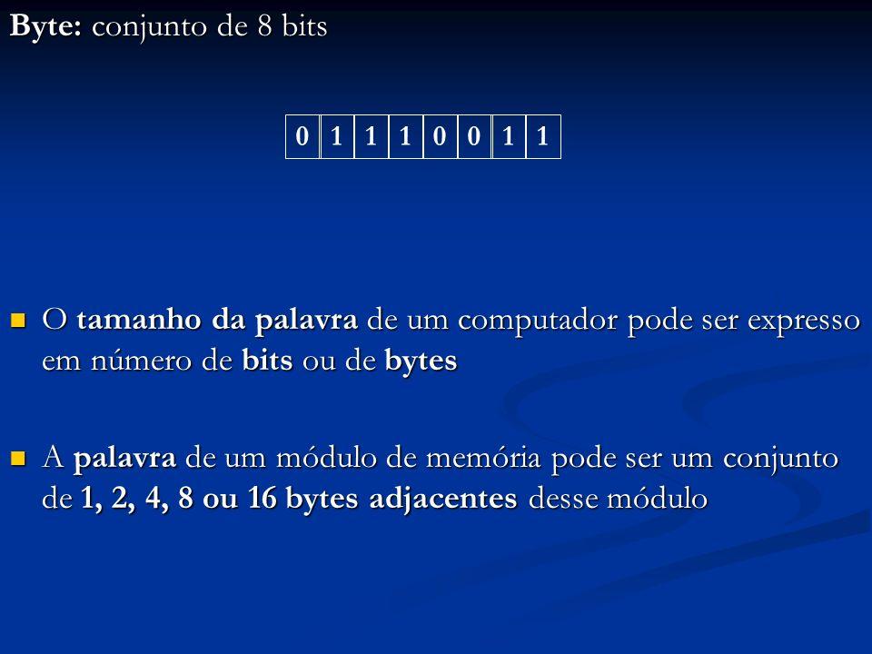 Os computadores atuais podem variar o tamanho de suas palavras mediante programação Os computadores atuais podem variar o tamanho de suas palavras mediante programação Ora ele pode enxergá-las como tendo apenas 1 byte, ora como tendo 2, 4, 8 ou 16 bytes Ora ele pode enxergá-las como tendo apenas 1 byte, ora como tendo 2, 4, 8 ou 16 bytes Então o sistema de endereçamento de seus módulos de memória pode variar mediante programação Então o sistema de endereçamento de seus módulos de memória pode variar mediante programação