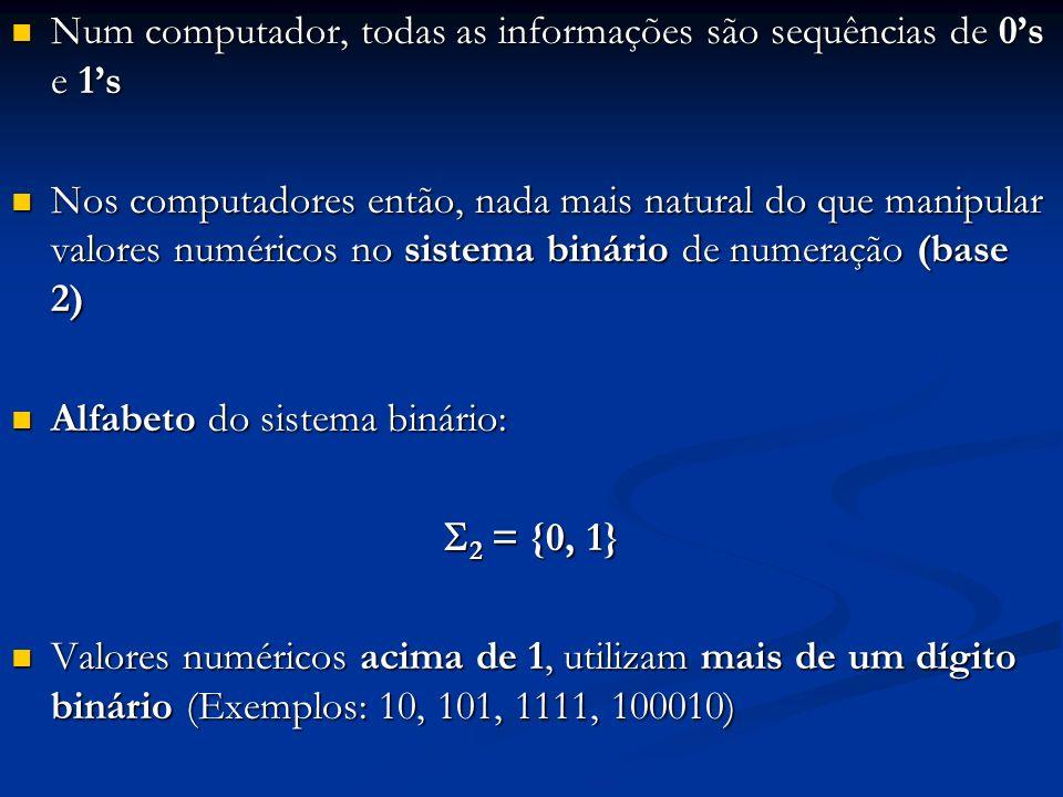 Qualquer número natural pode ser base de um sistema de numeração: Qualquer número natural pode ser base de um sistema de numeração: Equivalência entre os sistemas: Equivalência entre os sistemas: (29) 10 = (11101) 2 =(1002) 3 =(131) 4 =(35) 8 =(1D) 16 Em Computação usa-se muito os sistemas binário, decimal, octal e hexadecimal Em Computação usa-se muito os sistemas binário, decimal, octal e hexadecimal