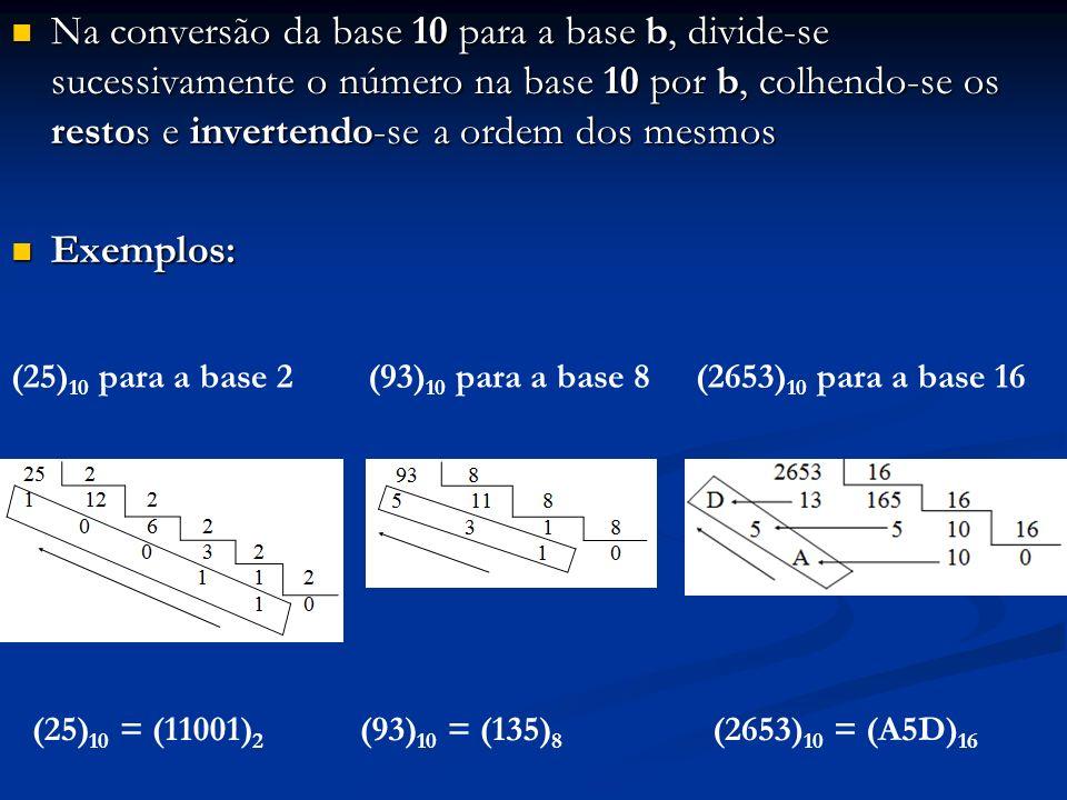 Conversão de base para números reais: Converte-se separadamente a parte inteira da parte fracionária Converte-se separadamente a parte inteira da parte fracionária A conversão da parte inteira acaba de ser vista A conversão da parte inteira acaba de ser vista Será vista agora a conversão da parte fracionária Será vista agora a conversão da parte fracionária