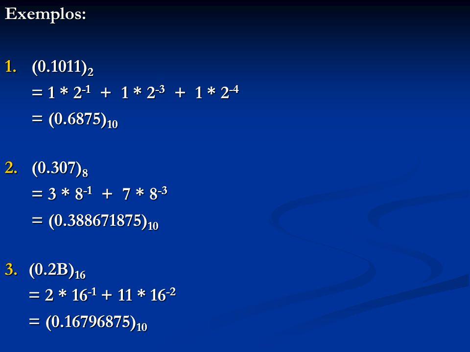 Exemplo: converter (0.7265625) 10 para a base 8 8 * 0.7265625 = 5 + 0.8125 8 * 0.8125= 6 + 0.5 8 * 0.5= 4 + 0.0 (0.7265625) 10 = (0.564) 8 Conversão de um número fracionário da base 10 para a base b: 1.Multiplicar o número na base 10 por b, separando a parte inteira do resultado 2.Aplicar o passo 1 à parte fracionária restante, repetidamente, até obter zero para a nova parte fracionária 3.Caso nunca se chegue ao zero, pode ser uma dízima periódica 4.As partes inteiras obtidas são os dígitos da conversão