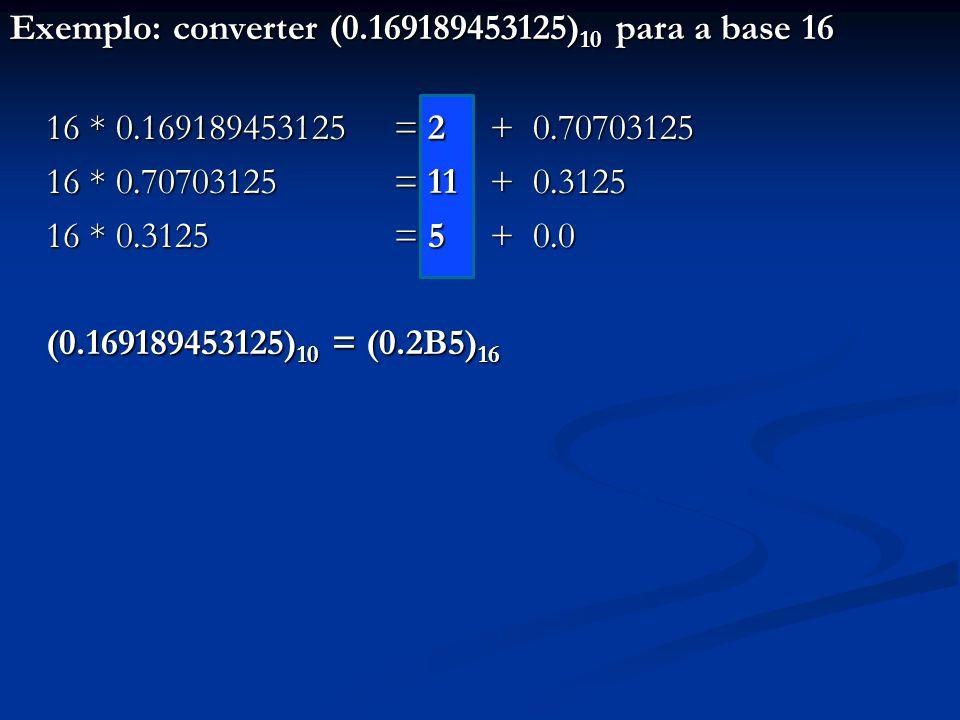 Exemplo: converter (0.3) 10 para a base 2 2 * 0.3= 0 + 0.6 2 * 0.6= 1 + 0.2 2 * 0.2= 0 + 0.4 2 * 0.4= 0 + 0.8 2 * 0.8= 1 + 0.6 2 * 0.6= 1 + 0.2 2 * 0.2= 0 + 0.4 2 * 0.4= 0 + 0.8 2 * 0.8= 1 + 0.6 2 * 0.6= 1 + 0.2 (0.3) 10 = (0,0 1001 1001 1… ) 2 Dízima periódica Um mesmo número pode ser expresso por dízimas periódicas em algumas bases e em outras não A racionalidade de um número independe da base